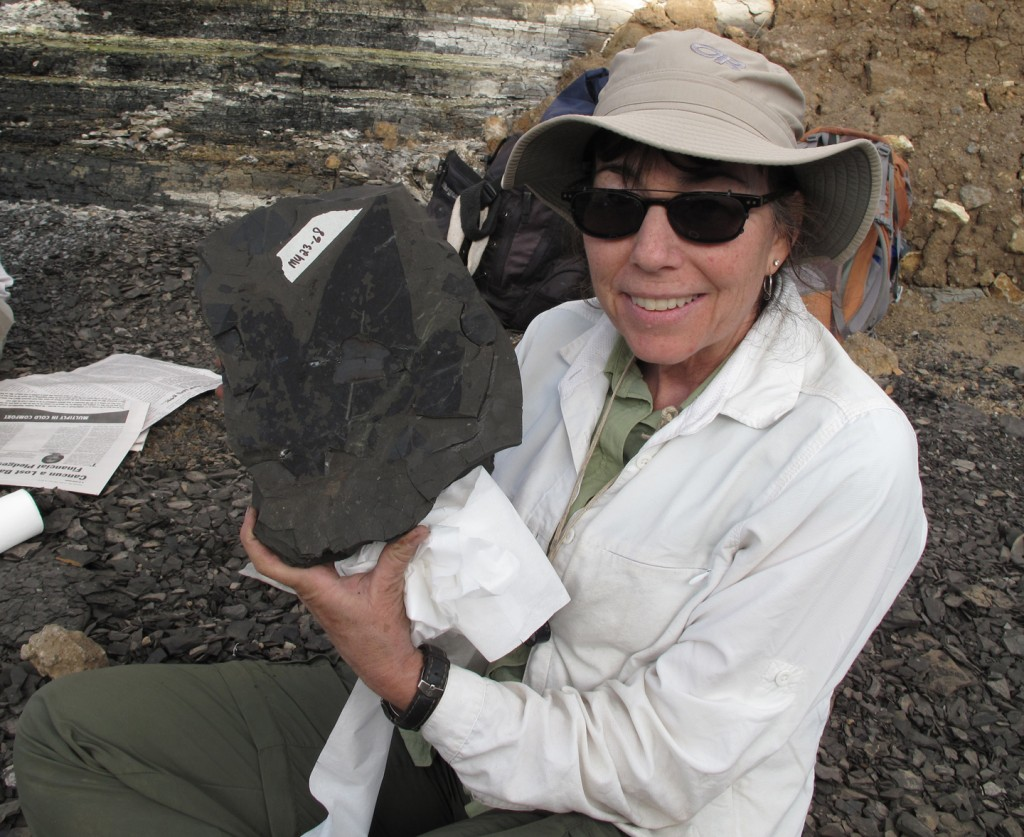 Dr. Bonnie Jacobs and a 22 million year old plant fossil from the Mush Valley, Ethiopia